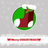 Christmas card template with sock. In the circle Stock Photo