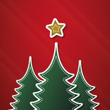 Christmas card template vector. Christmas Card with Fir and Star Royalty Free Stock Photo