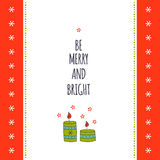 Christmas card template. Vector winter holiday card template with Christmas decorations. Greeting postcard. Be merry and bright. For invitations, scrapbooking Stock Photography