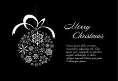 Black and white christmas card. Christmas card template with white  christmas ball made from snowflakes Royalty Free Stock Image