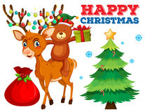 Free Christmas Card Template With Bear And Reindeer Royalty Free Stock Images - 79980719