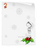 A christmas card template with a young boy above the poinsettia. Illustration of a christmas card template with a young boy above the poinsettia plant on a white Royalty Free Stock Photo