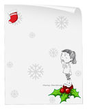 A christmas card template with a young girl standing above a poi Stock Images