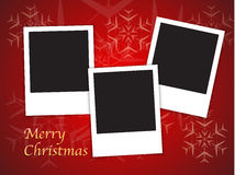 Christmas card templates with blank photo frames. Merry Christmas card templates with blank photo frames on red background. Vector illustration stock illustration