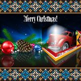 Christmas card with text Merry Christmas. An illustrated Christmas card with text Merry Christmas, Christmas decorations and a fire truck Stock Photography
