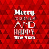 Christmas Card. With text on red background with relief triangles Royalty Free Illustration