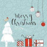 Christmas card with text, tree and presents on a winter background Royalty Free Stock Photography