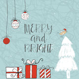 Christmas card with  text, tree and presents on a winter background. With snow and snowflakes. Greeting card template, poster with hand drawn quote . T-shirt Royalty Free Stock Image