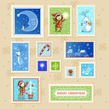 Christmas card with textbox. Beautiful Collections of Christmas Postmarks Stock Photos