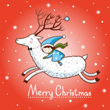 Christmas card with textbox. Red Background with the Girl and Deer. Christmas. Card with Christmas deer Royalty Free Stock Images