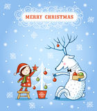Christmas card with textbox. Vector illustration on the theme of the new year Royalty Free Stock Photo