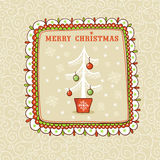 Christmas card with textbox. Vector illustration on the theme of the new year Stock Images