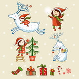 Christmas card with textbox. Vector illustration on the theme of the new year Royalty Free Stock Photography
