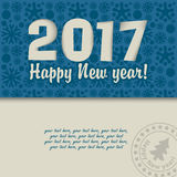 Christmas card for 2017. On texture background with snowflakes and place for an inscription Royalty Free Stock Photos