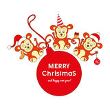 Christmas card with three cute monkeys. And New Year is ball Stock Photography