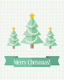 Christmas card with three fir trees. Light holiday Christmas card with decorated fir trees and green ribbon Royalty Free Stock Image