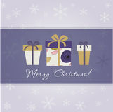 Christmas card with three gift boxes stock illustration