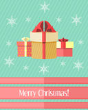 Christmas card with three gifts Royalty Free Stock Photography