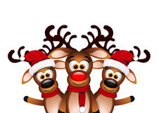 Christmas Card with three happy reindeer Royalty Free Stock Image