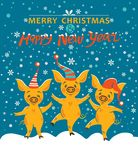Christmas card with three pigs. stock illustration
