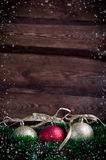Christmas card with three toy Royalty Free Stock Photos