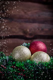 Christmas card with three toy Royalty Free Stock Photography