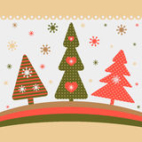 Christmas card. With three Christmas trees in an abstract style Stock Image