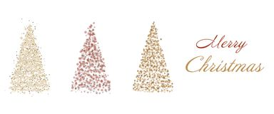 Christmas time - trees. Christmas card with three trees in golden colors. Text : Merry Christmas vector illustration