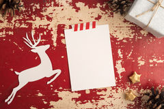Christmas card top view vintage template Royalty Free Stock Images