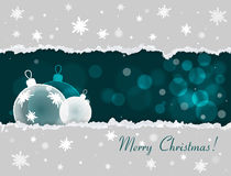 Christmas card with torn paper effect Snowflakes Bokeh. Christmas and New Year Vector background with some space for text Royalty Free Stock Photo
