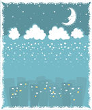 Christmas card with town and snowfall. Royalty Free Stock Images