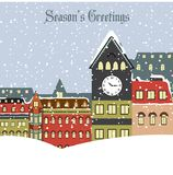 Christmas card with town in winter Stock Image