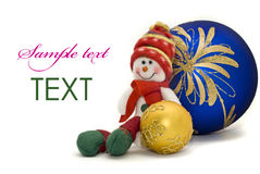 Christmas card - toy with colorful New Year Balls Stock Images