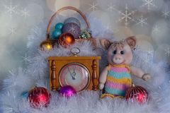 Christmas card with a toy pig royalty free stock images