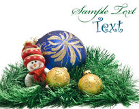 Christmas card - toy with three Balls Royalty Free Stock Images
