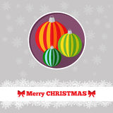 Christmas card toys template. Christmas card template with toys in the circle Royalty Free Stock Photos