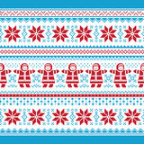 Christmas  card - traditional knitted patter Royalty Free Stock Images