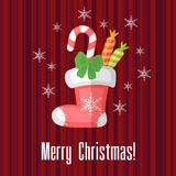 Christmas card with traditional sock or stocking Stock Photo