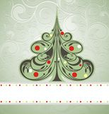 Christmas card with tree Stock Photography