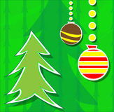 Christmas card with tree and balls Royalty Free Stock Photo