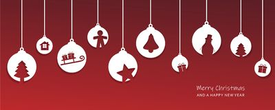 Christmas card with tree balls decoration red and white. Vector illustration EPS10 stock illustration