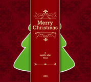 Christmas card with tree behind the stripe. Royalty Free Stock Image