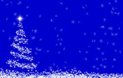 Christmas card. Christmas tree on blue background with snowflakes and stars Royalty Free Stock Photo