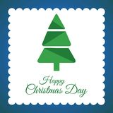 Christmas card with tree and blue background. For web design and application interface, also useful for infographics. Vector illustration Royalty Free Stock Photography