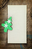 Christmas card with tree cookie Stock Photography