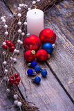 Christmas card with tree decorations Royalty Free Stock Photo