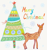 Christmas card with tree and deer Stock Images
