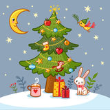 Christmas card with tree and gifts. Royalty Free Stock Images