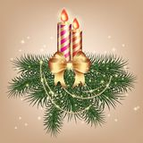 Christmas card with tree and golden candles with a bow and ornaments. Background Royalty Free Stock Photos