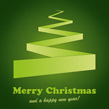 Christmas_Card_Tree_Green. Green background with folded paper in the shape of a christmas tree royalty free illustration
